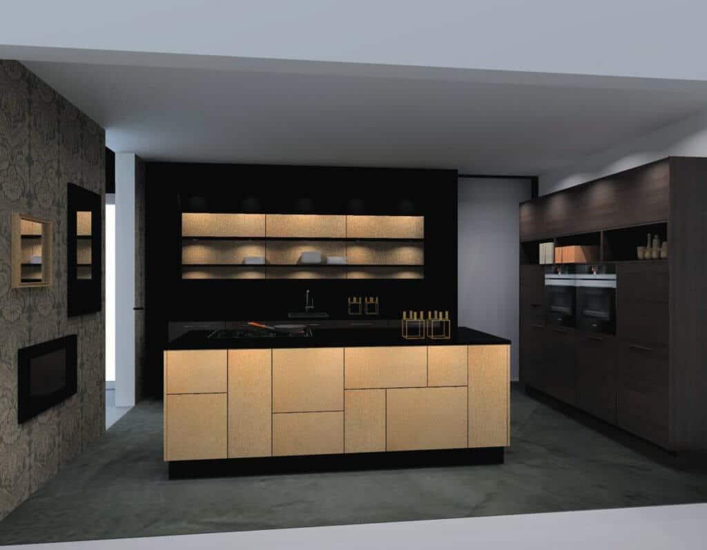 Nolte U Form Küche Mittelinsel Gold Nappa 09 - Bild