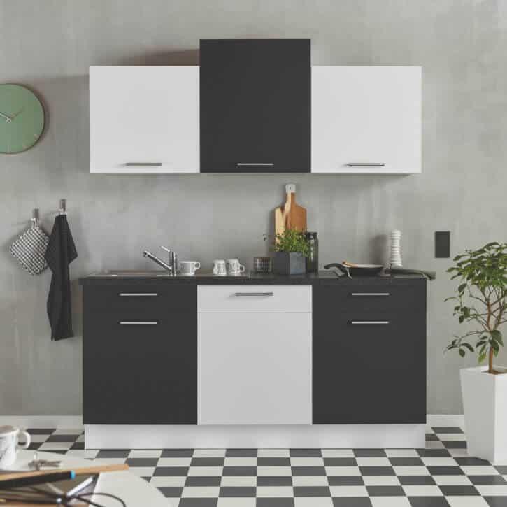 Kleine Schwarz Weiße Seidenmatte Küchenzeile