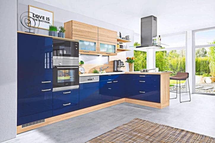 Küchenzeile Blau Lack