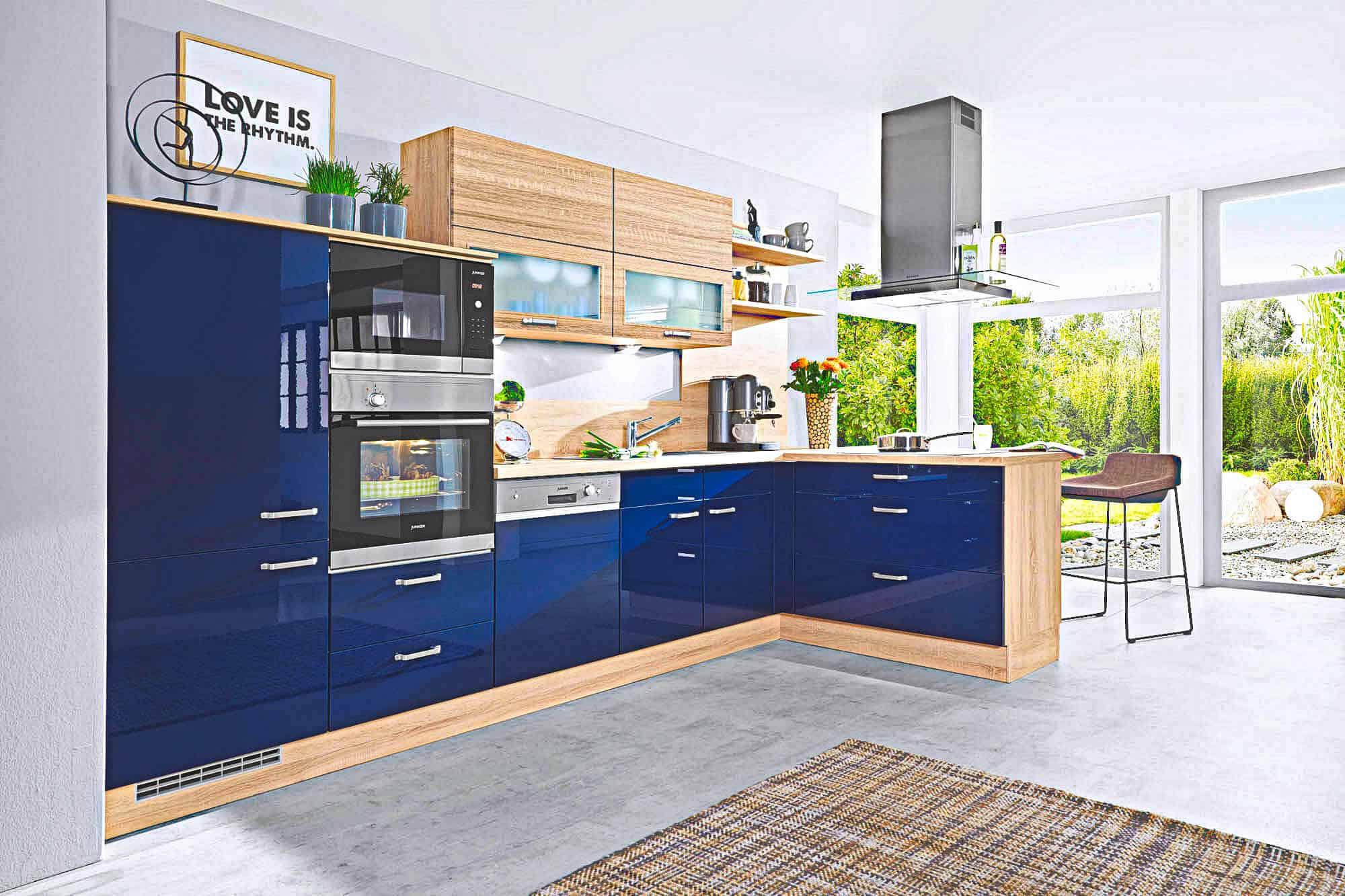 k chenzeile blau lack f r nur 5555 nur bei dieser kuechen boerse. Black Bedroom Furniture Sets. Home Design Ideas