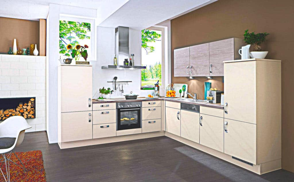 Beige L Küche