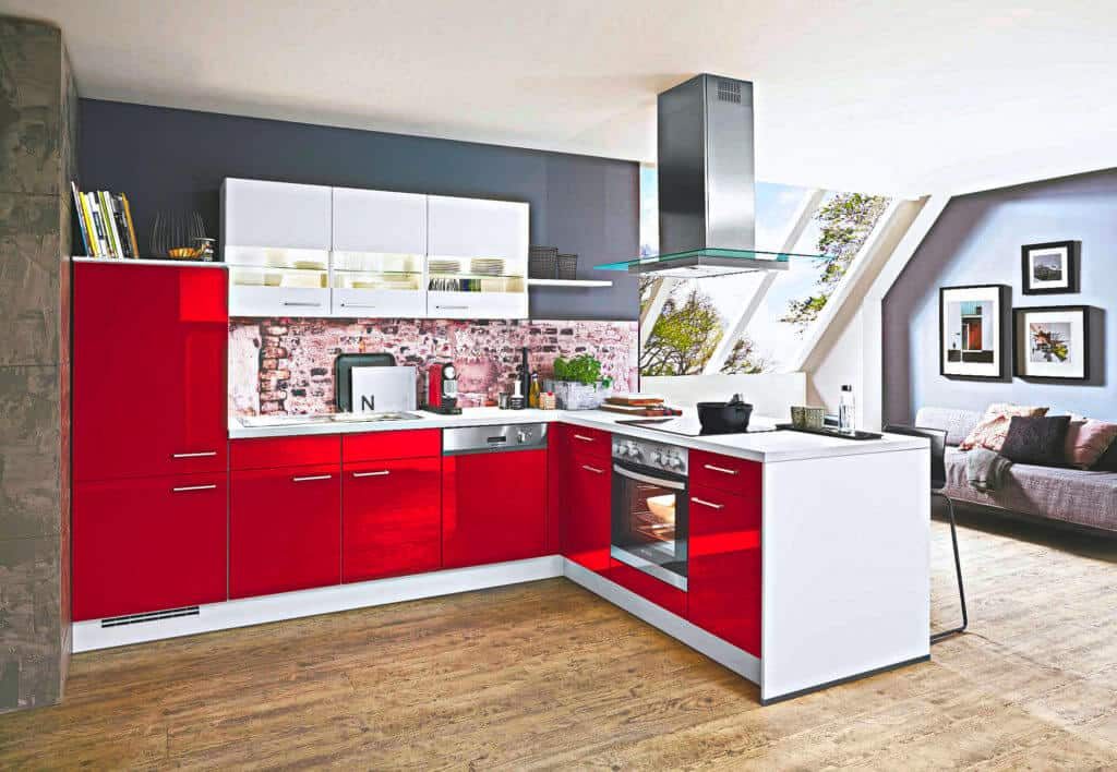 Weiß rote L Küche