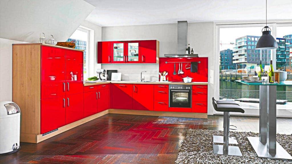 L Küche Rot Holz