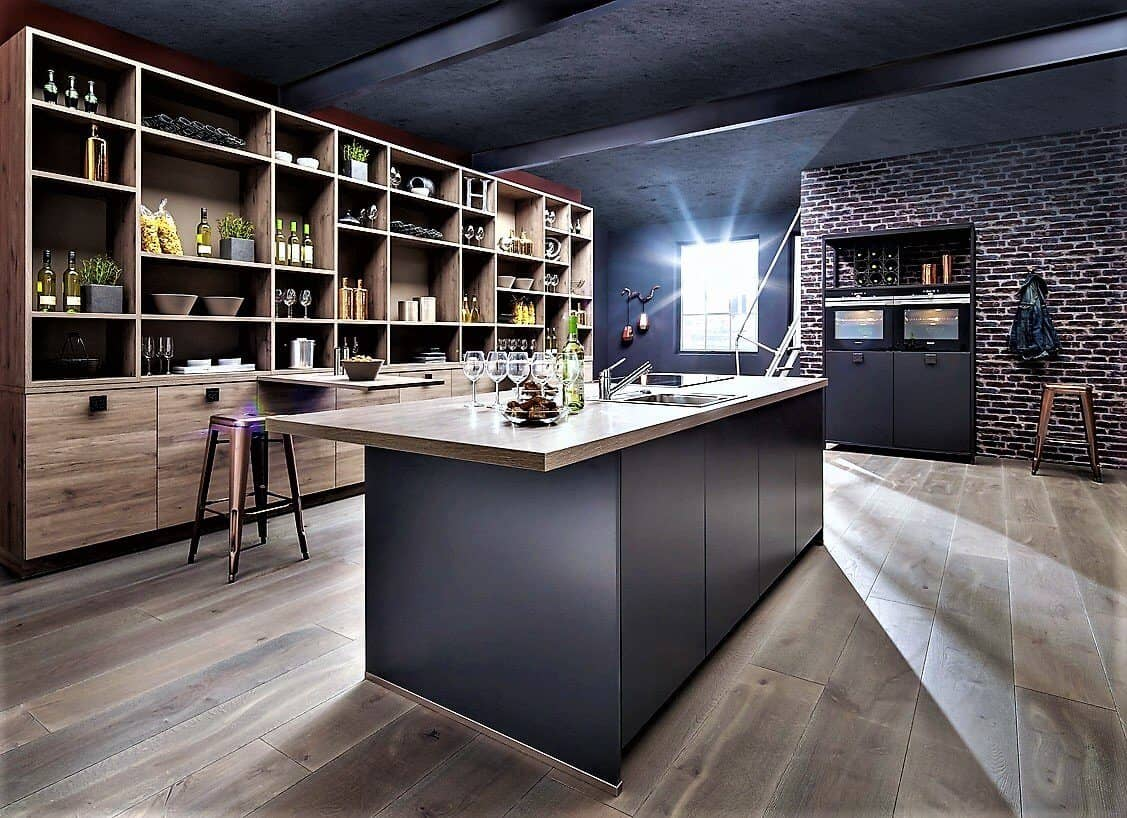 graue k che bis zu 70 preiswerter kaufen plank che lieferbar 10 t. Black Bedroom Furniture Sets. Home Design Ideas