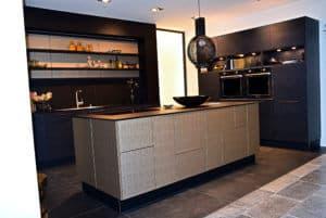 Inselküche Nappa Leder Gold