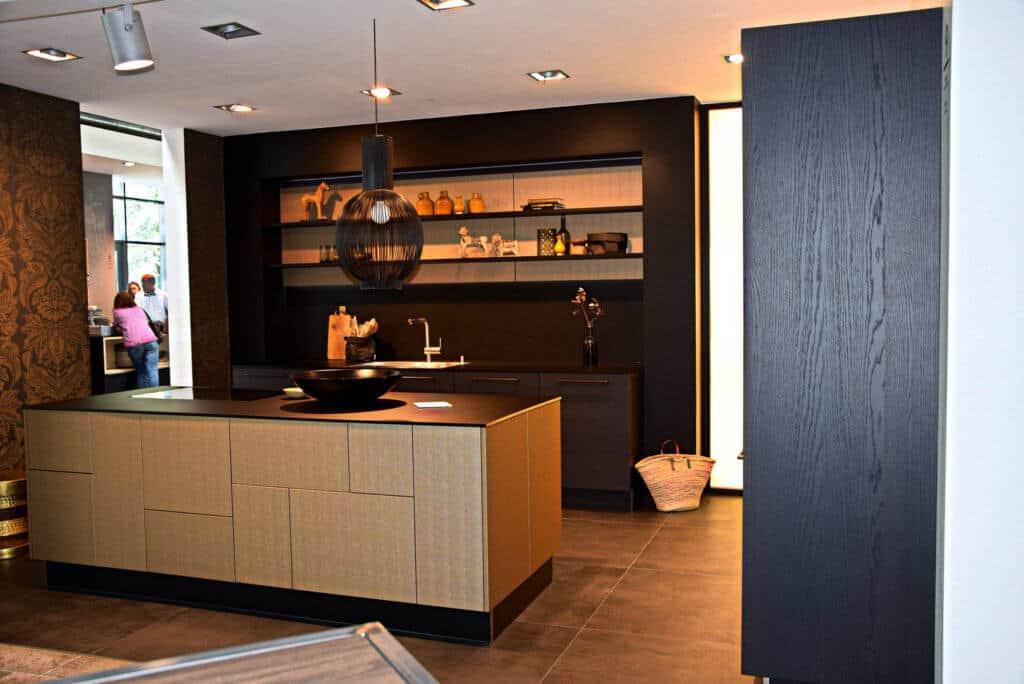 Gold Leder U Form Küche