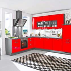 Rot graue L Küche