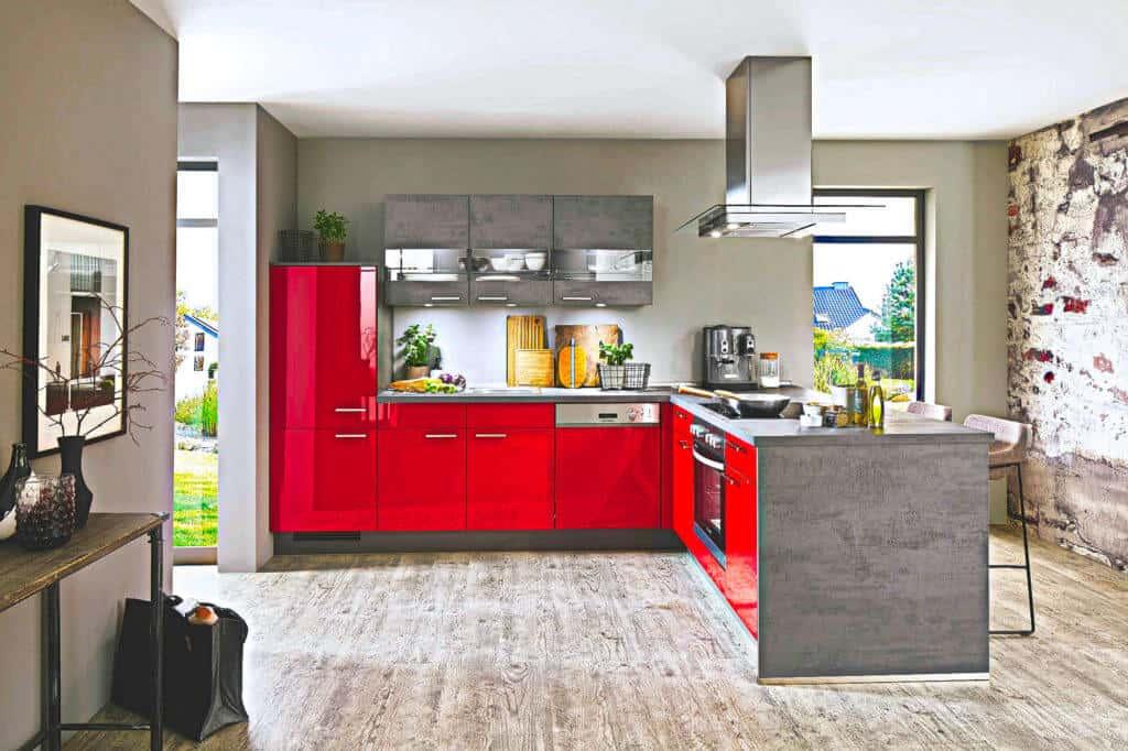 Praktische rote L Küche