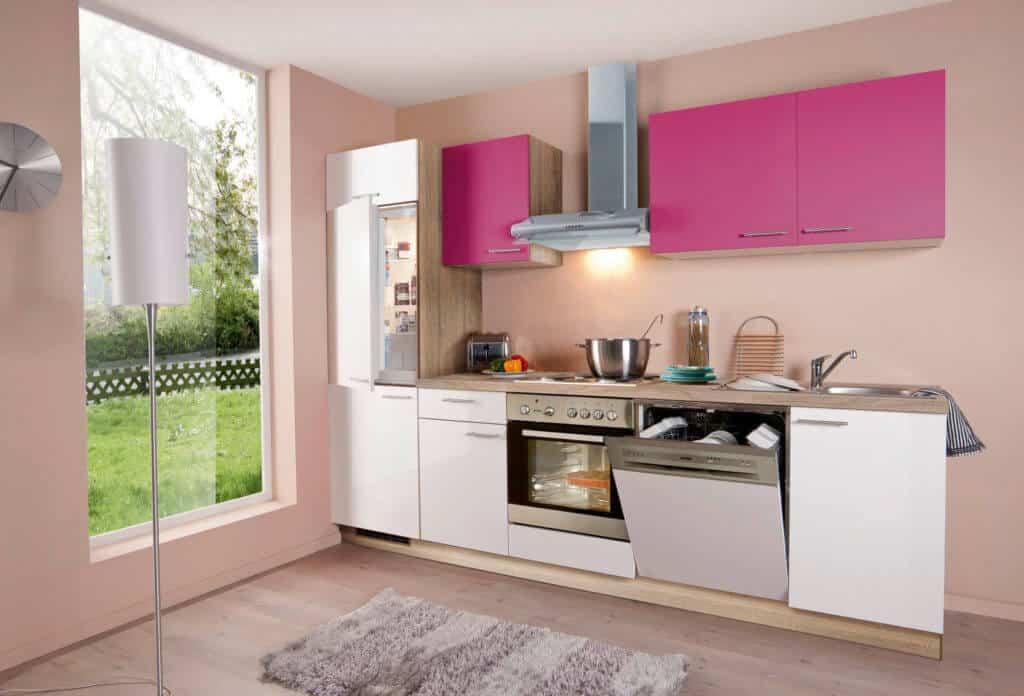 Küchenzeile Weiß Rosa
