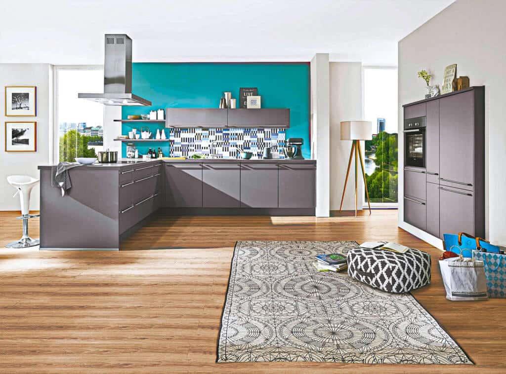 Graue L Küche