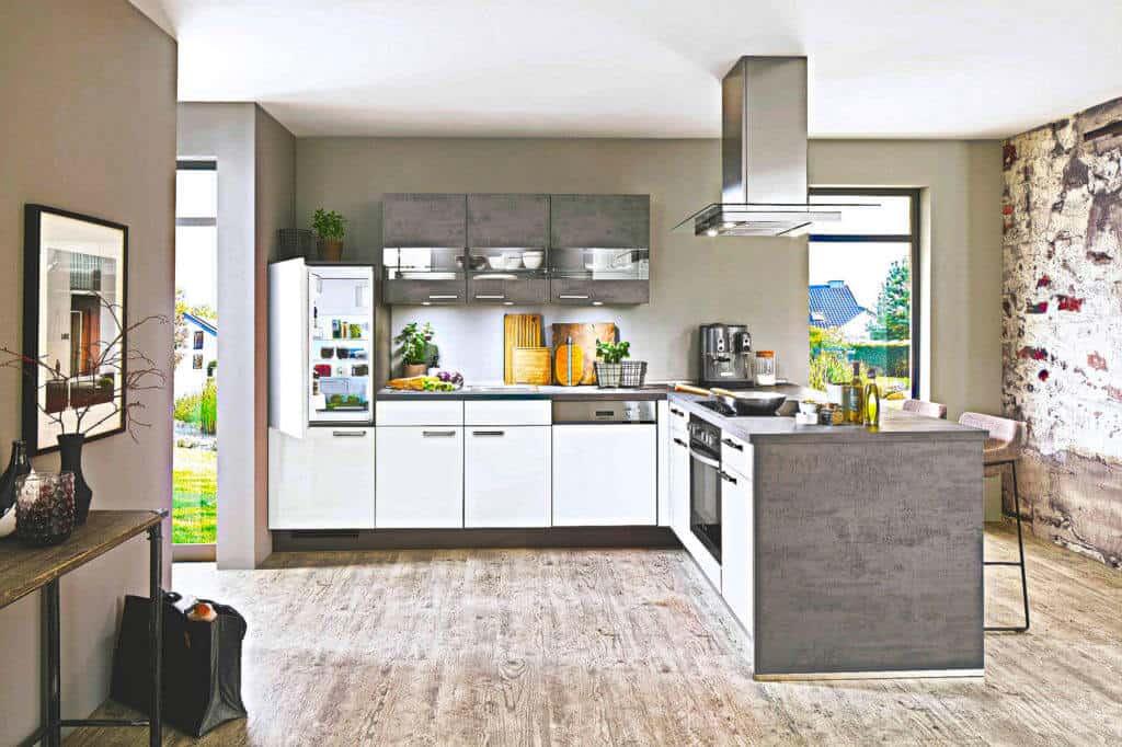 Grau Weiße L Küche