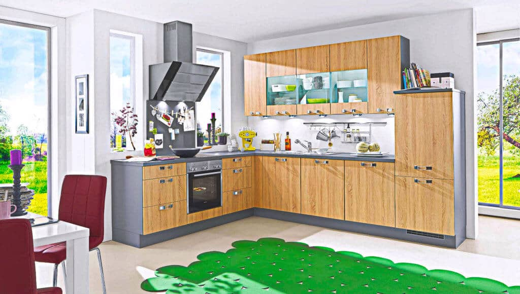 Graue Holz L Küche