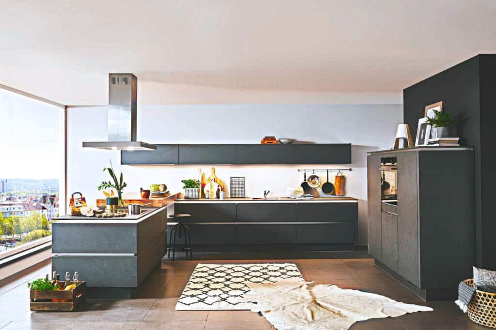 Dunkelgraue Design Küche