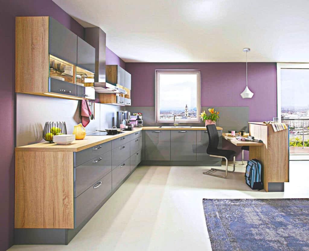 Große Holz / Graue L Küche