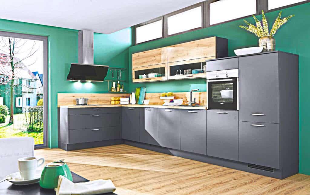 Dunkelgraue moderne L Küche