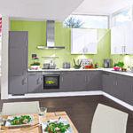 L Küche Grau Weiß