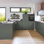 Moderne U Küche in Grau