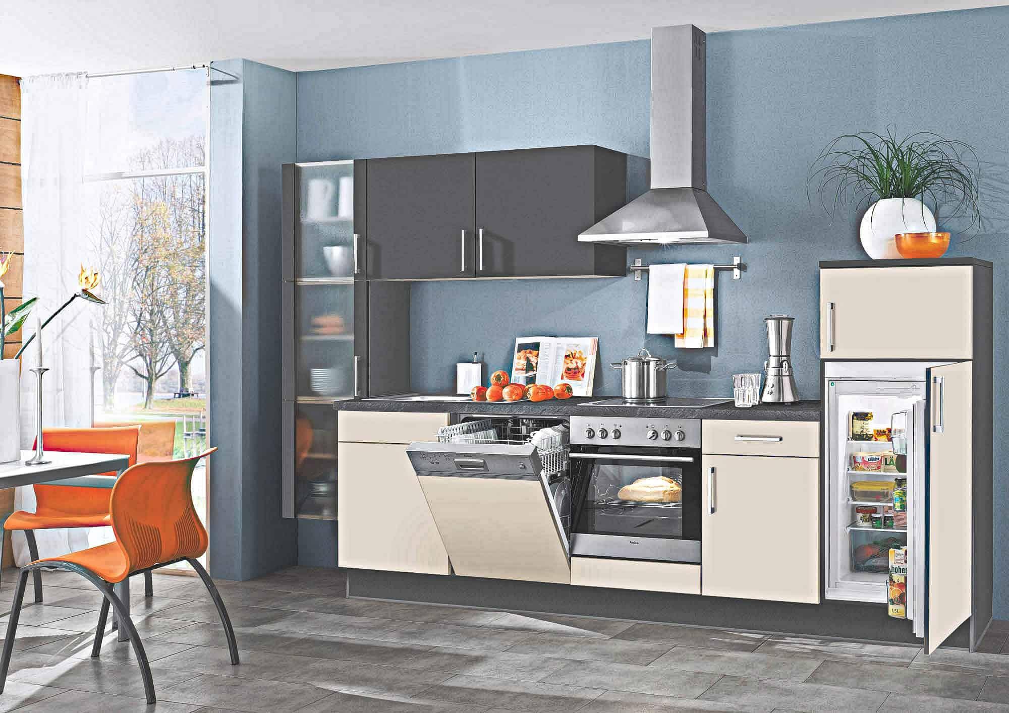 Sandbeige matte kleine Küchenzeile