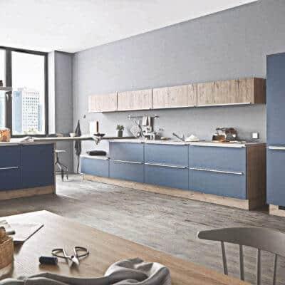blaue k che g nstig kaufen kompetente k chenplanung k chenb rse. Black Bedroom Furniture Sets. Home Design Ideas