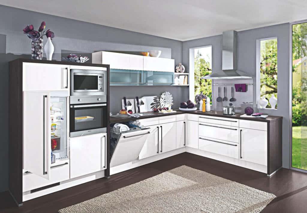 L Küche Magnolie Hochglanz