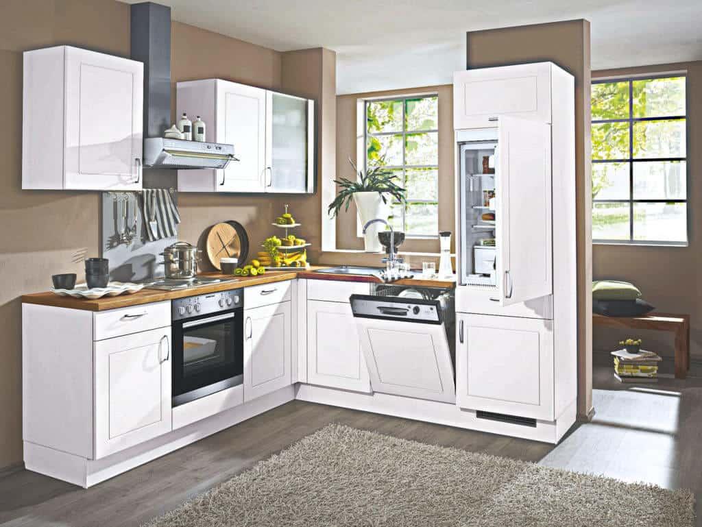 kleine weiße L Küche