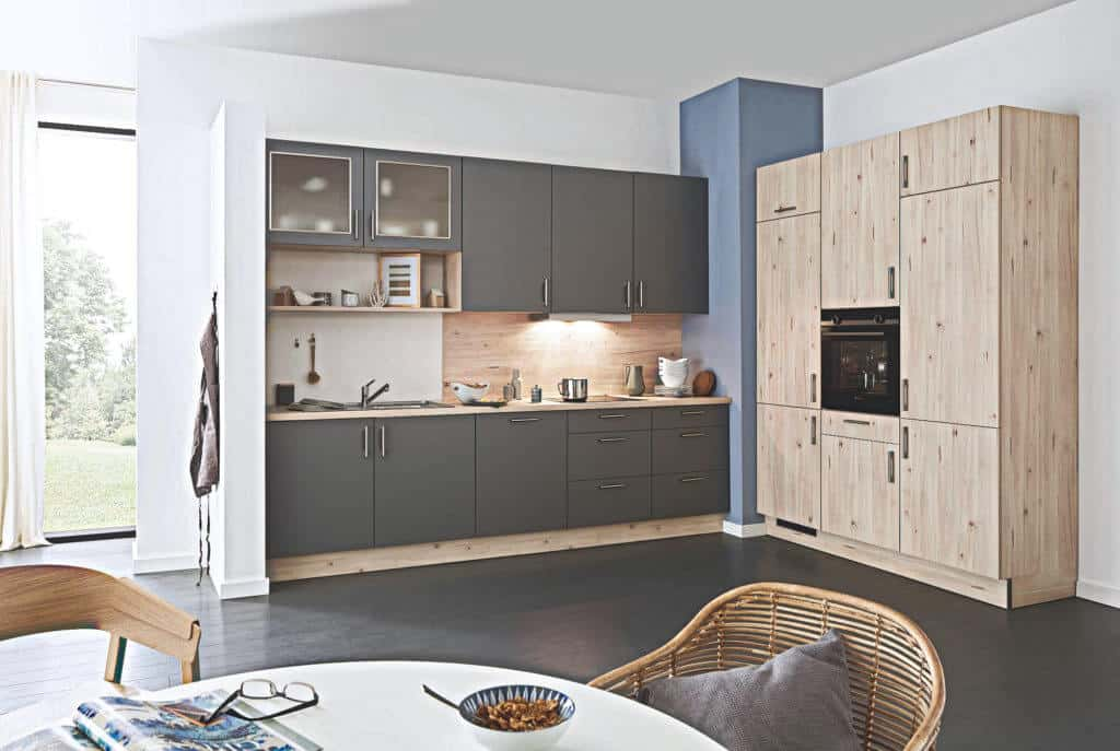 Titanfarbende L Küche