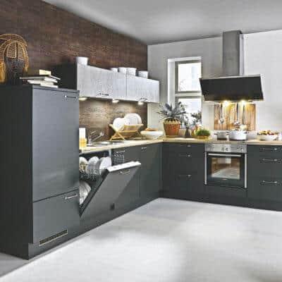 Schwarze mittlere L Küche