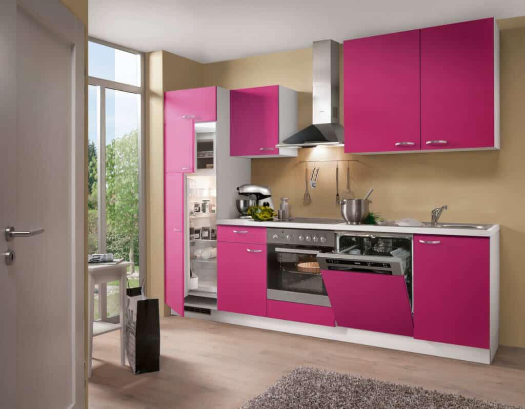 Küchenzeile Pink Weiß