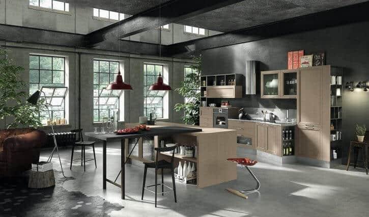 ARAN Magistra Küchenzeile mit Insel und integriertem Esstisch in Massivholz Esche Lehm