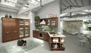 ARAN Magistra angeschrägte Küchenzeile im Landhausstil Esche gebeizt