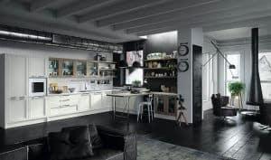 ARAN Magistra große L Küche mit Halbinsel Esche weiß