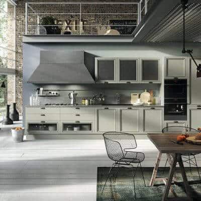 ARAN Magistra kleine moderne Küchenzeile im Factory Style Esche grün
