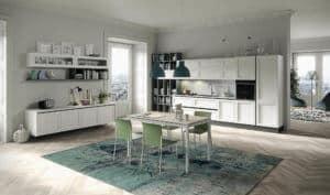 ARAN Magistra moderne Wohnküche Esche weiß lackiert