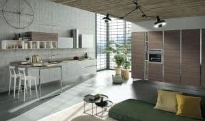 ARAN Mia grifflose Küchenzeile mit Halbinsel und Schranklösung in seidenweiß