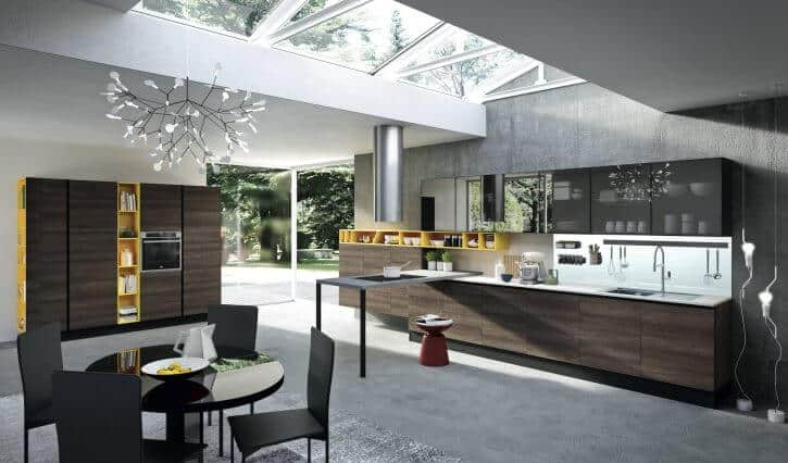 ARAN Mia große Küchenzeile mit Halbinsel und Schranklösung aschgrau