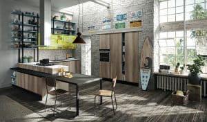 ARAN Mia kleine L Küche mit Halbinsel Eiche zerkratz