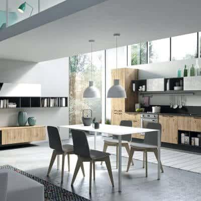 ARAN Mia moderne Küchenzeile im Industrial Style Eiche Neuseeland Beton