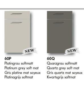 Küchenfronten Nolte Platingrau softmatt_Quarzgrau softmatt
