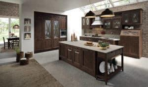 ARAN Bellagio Inselküche im Landhausstil Esche Nussbaum gebeizt