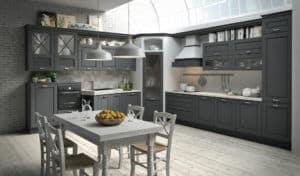 ARAN Bellagio große L Küche im Landhausstil Esche Anthrazitgrau