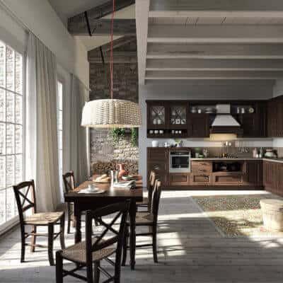 ARAN Bellagio große L Küche im Landhausstil Esche Walnuss
