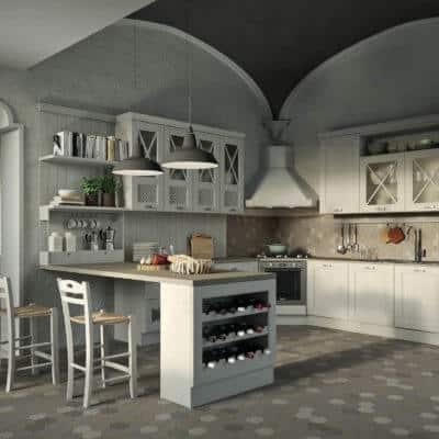 ARAN Bellagio große U Küche im Landhausstil Esche weiß
