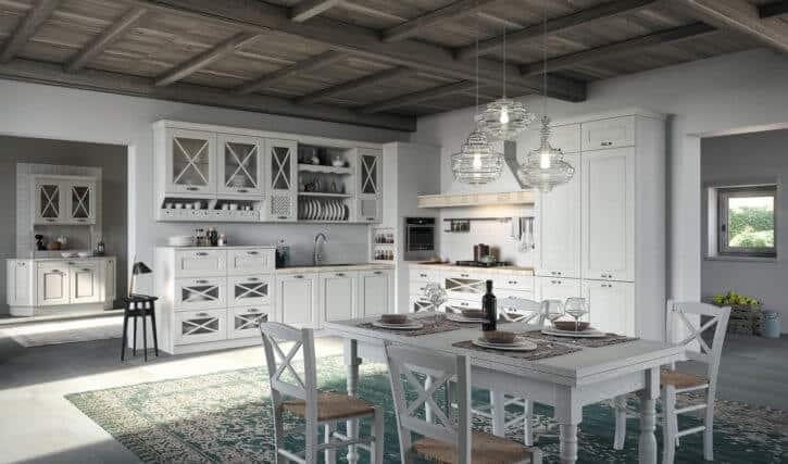 ARAN Bellagio kleine L Küche im Landhausstil Esche weiß