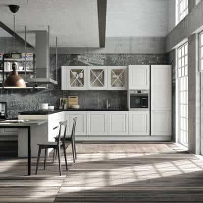 ARAN Bellagio mittelgroße L Küche mit integriertem Esstisch Esche weiß