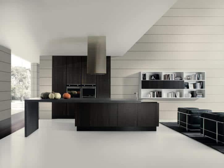 ARAN Volare moderne Inselküche mit integriertem Tresen Eiche