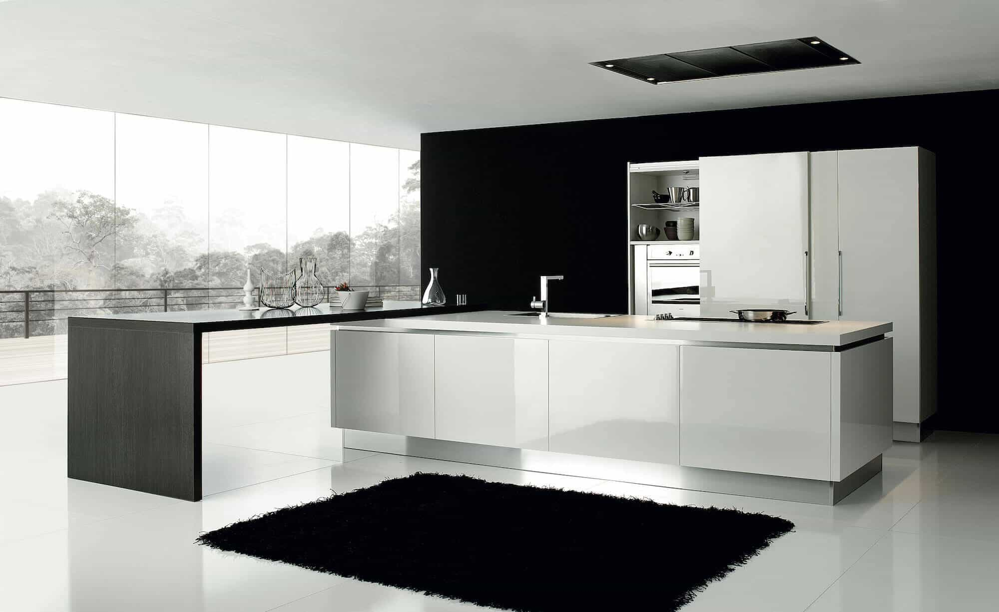 ARAN Volare Designküche mit Insel und integriertem Tresen Hochglanz weiß
