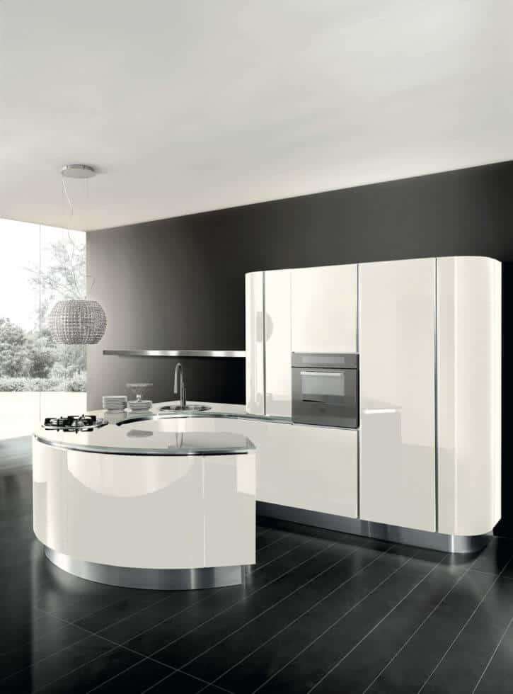 ARAN Volare Designküche mit runder Halbinsel Lack weiß