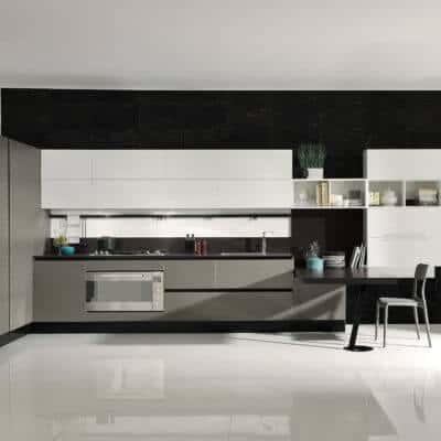 ARAN Volare L Küche mit integriertem Esstisch Kiefer Asche Weiß