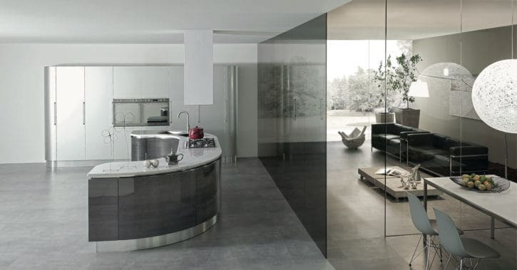 ARAN Volare moderne Inselküche in U-Form Silber Graphit