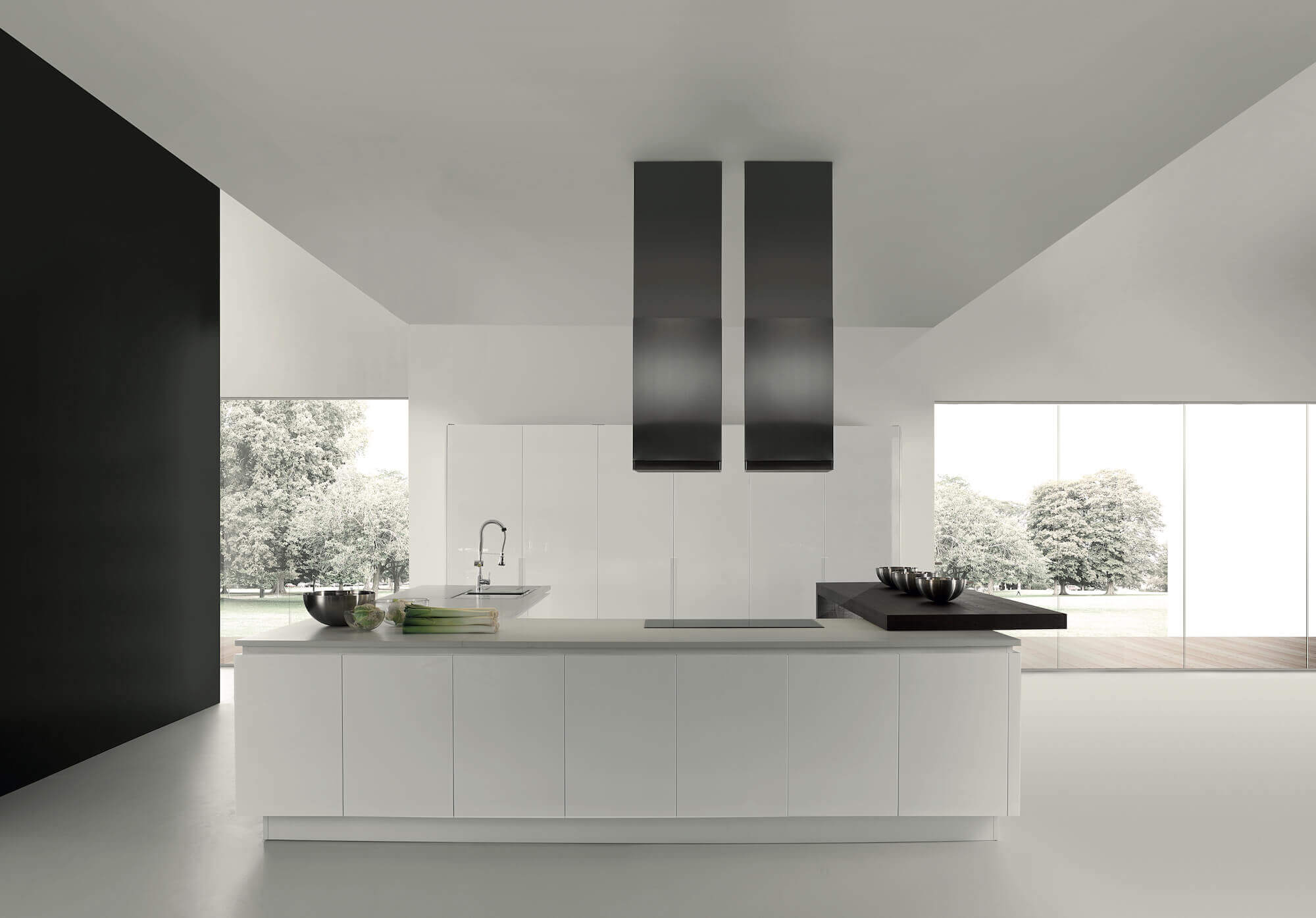 ARAN Volare moderne Inselküche mit integriertem Tresen Hochglanz weiß